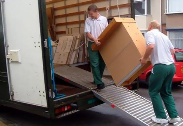 our team moving belongings